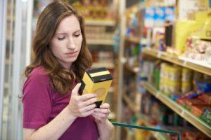 Checking ingredients on food packaging